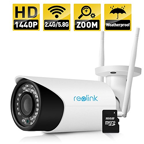 Reolink Wireless IP Camera 4MP 1440P Security 2.4G/5.8G Dual Mode Wifi Outdoor 4X Optical Zoom Built-in 16GB Micro SD Card RLC-411WS