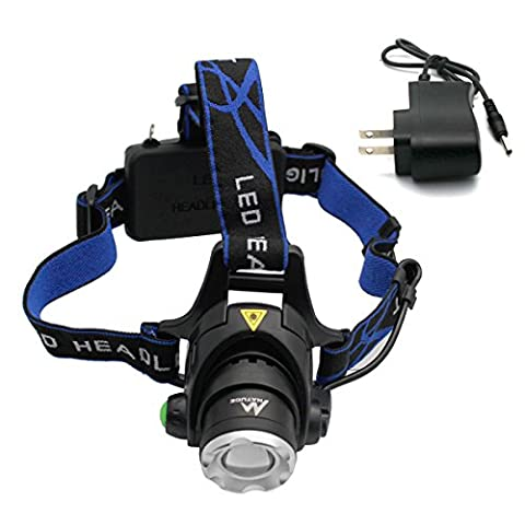 Rechargeable LED Head Torch Light with 3 Modes, NATUCE Waterproof Zoomable XM-L Headlight Headlamp Head Lamp Flashlight Security