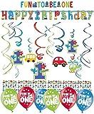 Libetui Geburtstag Dekoration Deko-Set 'Stern' Kindergeburtstag Happy Birthday Bunte Partykette farbenfrohe Girlande Spirale Luftballons und Geburtstags-Kerzen (1.Geburtstag Boy Fun)