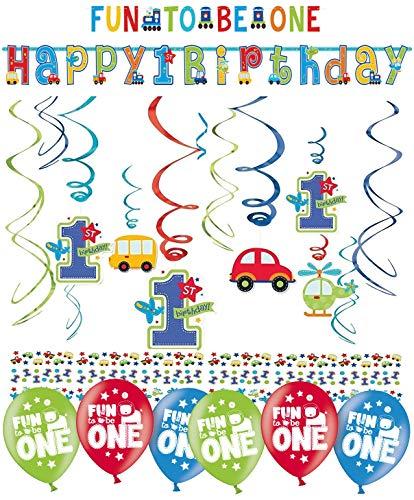 ekoration Deko-Set 'Stern' Kindergeburtstag Happy Birthday Bunte Partykette farbenfrohe Girlande Spirale Luftballons und Geburtstags-Kerzen (1.Geburtstag Boy Fun) ()