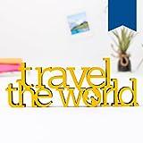 Kleinlaut 3D-Schriftzug 'travel the world' in Größe: 25 x 9,2 cm - Dekobuchstaben - 32 Farben zur Wahl - Blau