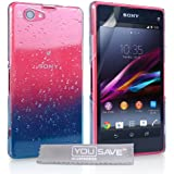 Yousave Accessories Raindrop Hard Cover Case for Sony Xperia Z1 Compact - Blue/Clear