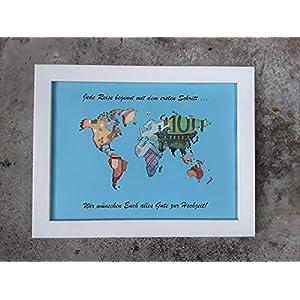 Geldgeschenk Weltkarte im Bilderrahmen für Hochzeit (beschriftet)