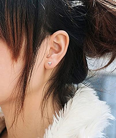 XJoel 925 Silber Ohrstecker Männlich und Weiblich Südkorea Dreidimensionale Dreieck Ohrringe