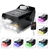 Virhuck RC Colorful LED Light Fog Machine Máquina de Niebla Profesional 500W Control Remoto inalámbrico con Luces LED Cold Smoke Maker Chiller Sistema de generador de Niebla portátil- Negro
