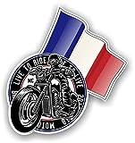 Rétro Club Moto Cafe Racer Motard Design avec France Français Drapeau Motif Sticker Autocollant Vinyle Voiture 100x106mm