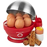Andrew James Electric Egg Boiler In Red, With Steamer Attachments - 7 Egg Capacity & 2 Year Warranty