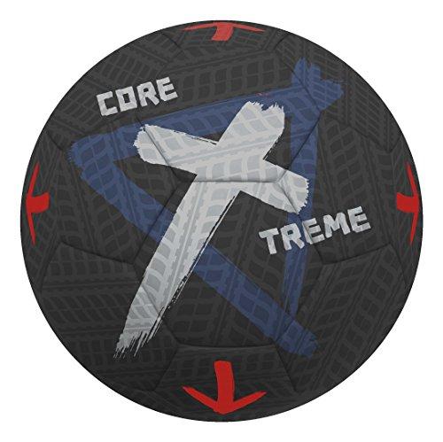 Sport-Thieme Straßenfußball Core Xtreme I Outdoor Streetsoccer-Ball I Widerstandsfähig, perfekte Ballkontrolle u. Sprungverhalten I Größe 5 I ø 22 cm I 420 g I Gummi I Schwarz-Grau, Größe 5, ca. 420 g -