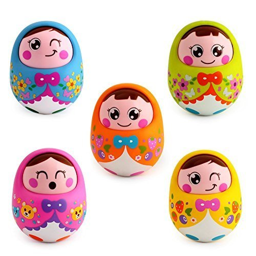 Huile Toys Push and Shake Wobbling Roly Poly Tumbler Doll with Soft and Sweet Bell Sounds, Multi Color