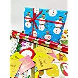 Satyam kraft (Pack of 10) Christmas Theme Gift Wrapping Paper with Free 10 Best Wishes Tags and 1 Satin Ribbon, Envelope Making,Card Making, Christmas, Family and Your Loved Ones Chrismas (10 Papers)