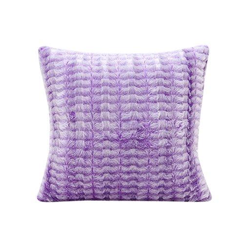 TTLOVE PlüSch Kissen Dekorative Home Decor Sofa Taille Wurf Kissenbezug Case Set Dekokissen Geometrische Muster 45X45Cm Solid Mit Streifen KissenbezüGe Gestreiften(Lila)