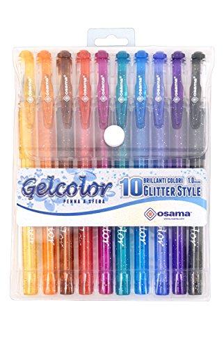 GEL COLOR penna gel glitterata confezione 10 pezzi