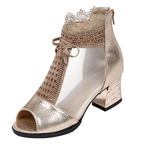 BaZhaHei Damen Schuhe Mode Frauen Reißverschluss Damen Ankle Heels Casual Open Toe Spitze Partei Singel Schuhe High Heels Dicker Absatz Spitze Fischmund Frauen Schuhe (Womens Patent-oxford-schuhe)