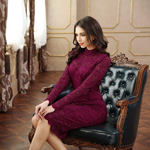 Miusol Damen Elegant Kleider Rundhals Knilanges Spitzenkleid Stretch Ballkleid Abendkleid - 5