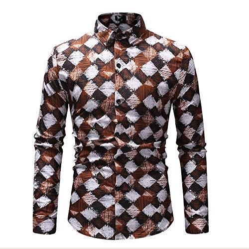 Männer Casual Button-Down-Shirts Langärmliges, langärmeliges Herrenhemd Fashion Plaid Print mit Kontrastmuster Premium Pet Reisetasche für Hund & Katze ( Farbe : Braun , Größe : XXXL ) (Button Brown Plaid)