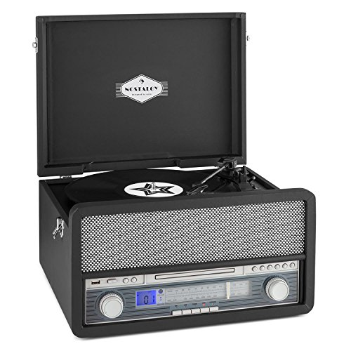 auna Epoque 1907 tocadiscos minicadena retro con Bluetooth (USB, radio FM/AM, reproductor MP3, CD, casete y vinilo, AUX) - negro