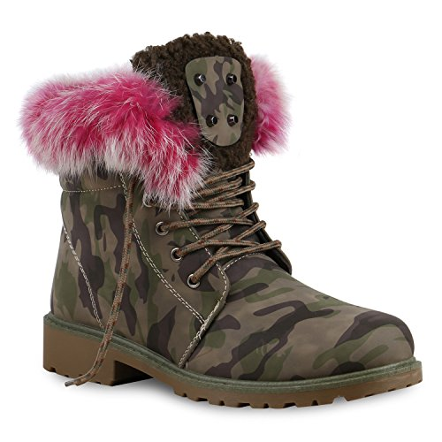 Warm Gefütterte Damen Stiefeletten Fell Worker Boots Outdoor Schuhe Camouflage Pink