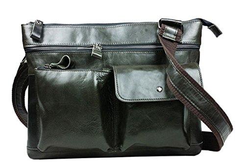 Genda 2Archer vera pelle Leisure Borsa a tracolla ventiquattrore Ufficio business Messenger Bag per uomo (grigio nero) grigio nero