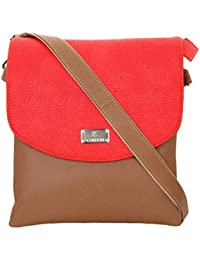 K London Medium Sized Casual Artificial Leather Handbag/Sling Bag For Women & Girls (Brown,Red) (1305_Brown)