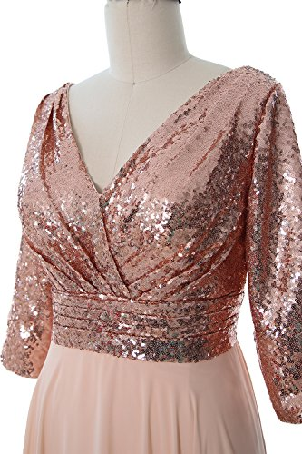 MACloth Women 3/4 Sleeve V Neck Mother Dress Sequin Chiffon Wedding Formal Gown Gray-White