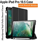 #2: Oaky Shockproof Lightweight Soft TPU Folio Smart Back Cover and Trifold Stand with Built-in Apple Pencil Holder for iPad Pro 10.5 Inch 2017