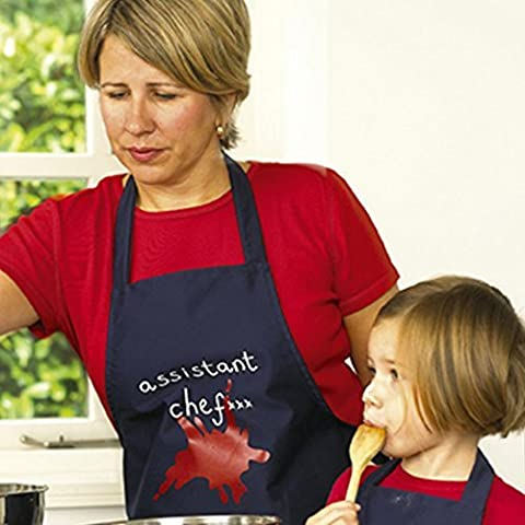 Apron - Blue Adult Apron with Assistant Chef slogan. Please