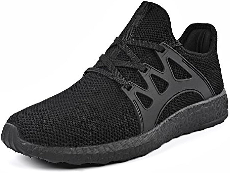 QANSI Hombre Zapatos Deportivos Casuales Zapatillas de Deporte al Aire Libre Negro 44