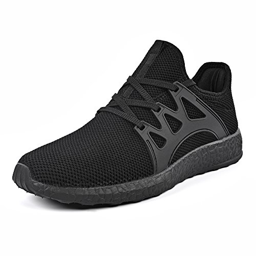 QANSI Mens Trainers Athletic Walking Running Gym Shoes Sporting Shoe (9.5 UK, Black)