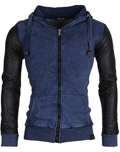 4d3de8284cf1 TAZZIO Herren Kapuzenpullover Sweatshirt Jacke Zipper Hoodie Biker Indigo