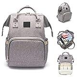 Wickeltasche Rucksack, große Kapazität und Multi-Funktions-Baby-Care-wasserdichte Reise-Windel-Taschen, langlebig und stilvoll (Grau)