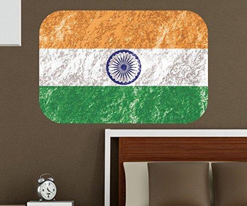 indische Flagge Wandbild Indien Wandaufkleber Wandsticker Nation des Hinduismus Wohnzimmer Aufkleber Sticker 11B411, Wandbild Größe B:144x96cm