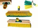 Gartenbesen Straßenbesen 40cm mit Kratzschiene, universal Stielhalter, Elaston grün/gelb