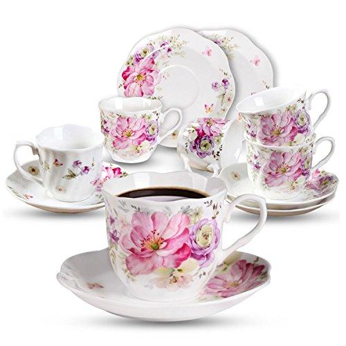 Kaffeetassen mit Untertasse rosa Blume Set 7oz Neue Bone China Kaffeeservice 6 Personen Tasse mit...