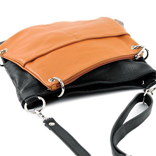 modamoda de - ital. Ledertasche Damentasche Messengertasche Umhängetasche 2in1 Leder T140 Schwarz/Camel