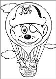 Ausmal Bastel Klappkarte für Kinder mit Tieren im Heißluftballon • auch zum direkt Versenden mit ihrem persönlichen Text als Einleger.