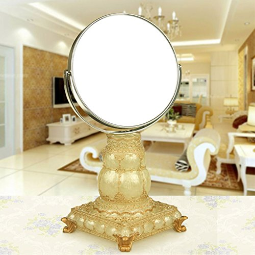 JILAN HOME Mirror- Harz 6 Zoll-High-Definition-Make-up-Desktop-Dressing-Spiegel Doppelseitig verstellbarer runder tragbarer Spiegel Beauty Vanity Mirror zu Fuß Stand mirror ( Farbe : Pearl yellow )