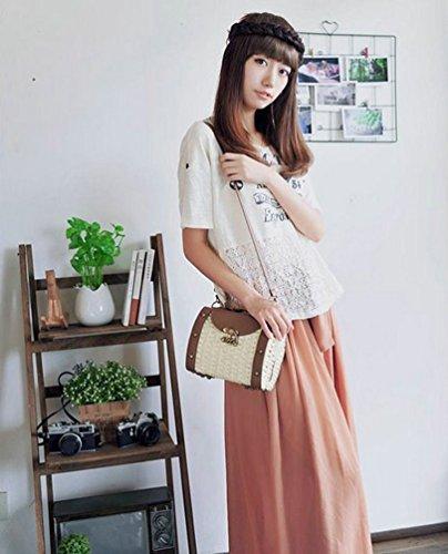 YOUJIA Damen Vintage Stroh Stricken Boho Schultertaschen Umhängetaschen Pu-Leder Handtaschen Beige