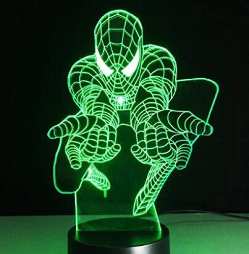 Styling luce notturna 3d luce stereoscopica acrilico 7 cambio colore usb camera da letto comodino luce notturna lampada da tavolo creativa @ spider man 1_7 cambia colori
