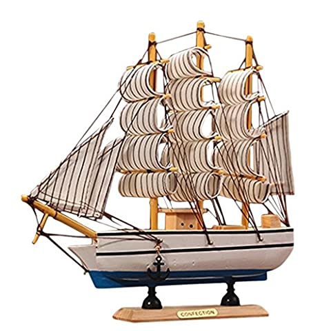 Sharplace Wooden Ship Assembly Model Handcrafted Sailing Boat Ship Replica Model Model Handmade Ornaments - B, as described