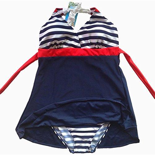 Gigileer Damen Frauen Badeanzug Bademode one Piece Marine Streifen Rock Shorts Rot XL EU 38-40 - 4