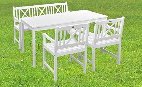 4. Tlg Gartenset Aalborg / Sitzgruppe / Gartengruppe / Eukalyptus - weiß