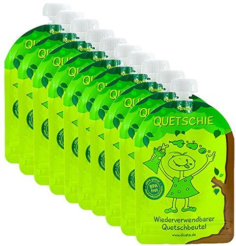 divata Quetschies 170ml (10er Pack), BPA-frei - wiederverwendbare Quetschbeutel zum selbst befüllen mit u.a. Yoghurt, Smoothies, Mus. Ideal für Kita- & Schul-Kinder