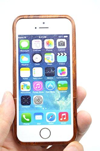 RoseFlower® Coque iPhone SE / iPhone 5S / iPhone 5 en Bois Véritable - Puzzle de bambou - Fabriqué à la main en Bois / Bambou Naturel Housse / Étui avec Gratuits Film de Protecteur Écran pour votre Sm PalissandreMaya