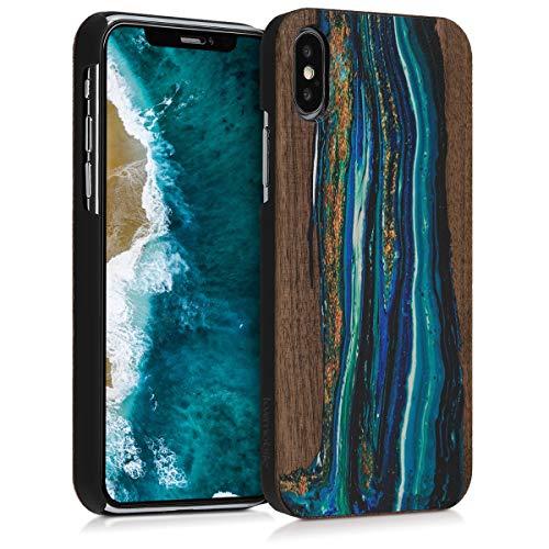 kwmobile Apple iPhone X Hülle - Handy Schutzhülle aus Holz - Cover Case Handyhülle für Apple iPhone X