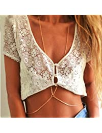Women's Latest Crossover Waist Belt Belly Harness Body Chain Necklace