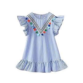 EZB Baby Girls Floral Print Denim Tea Dress