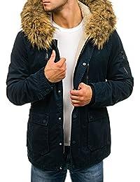 BOLF Hombre Chaqueta de Invierno Parka Capucha con Pelo 100% Algodón CAMO 4D4
