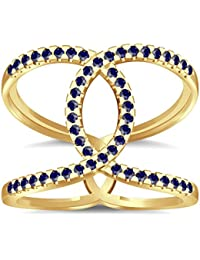 Silvernshine Halo Twist Blue Sapphire CZ Diamond Engagement Ring 14k Yellow Gold PL Bridal Ring
