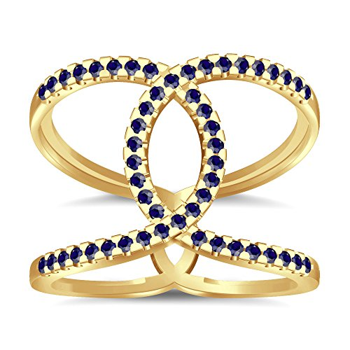 Silvernshine Halo Twist Blue Sapphire CZ Diamond Engagement Ring 14k Yellow Gold PL Bridal Ring