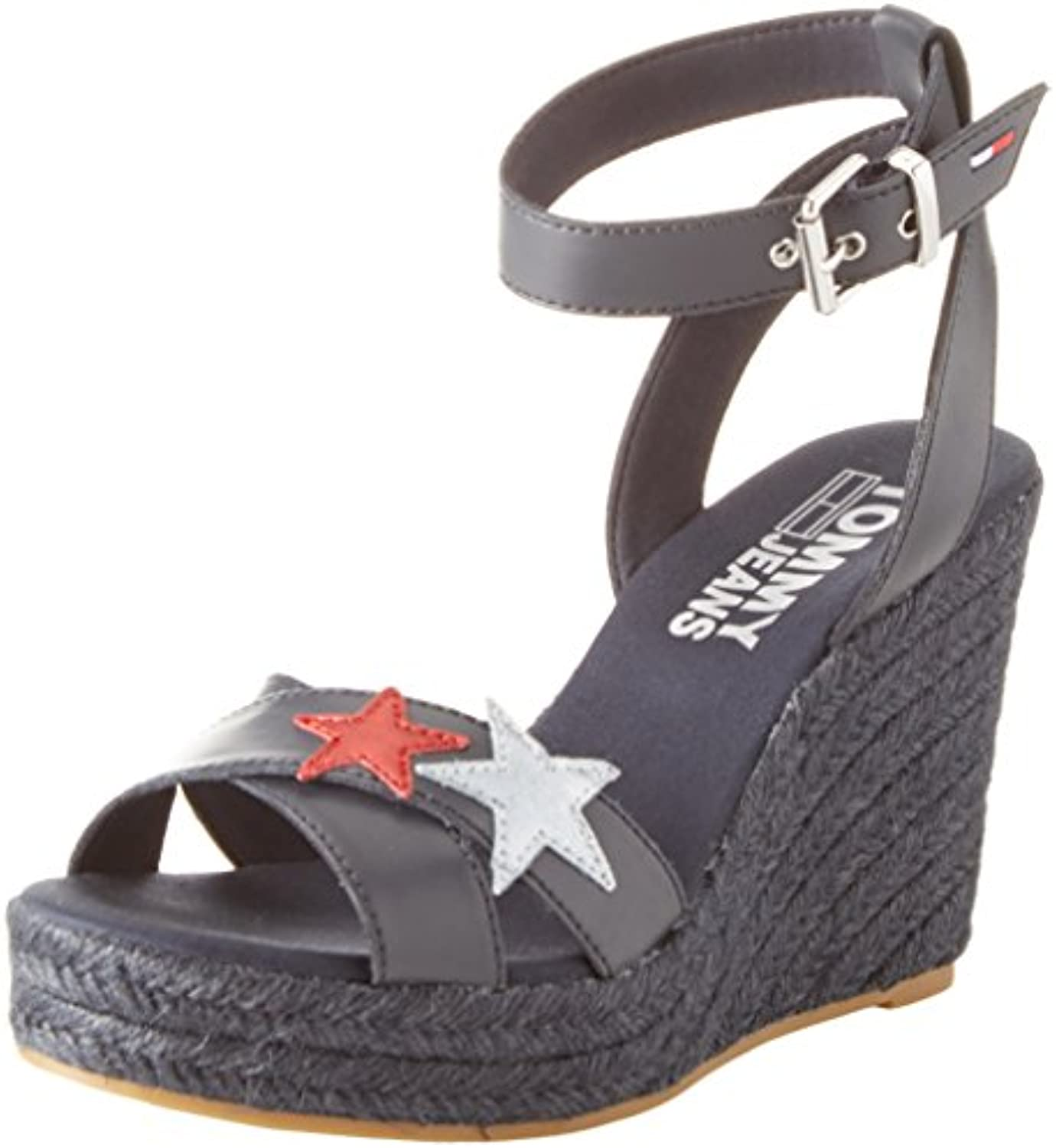 Tommy Jeans Wedge Sandal Glitter Badge, Alpargata para Mujer